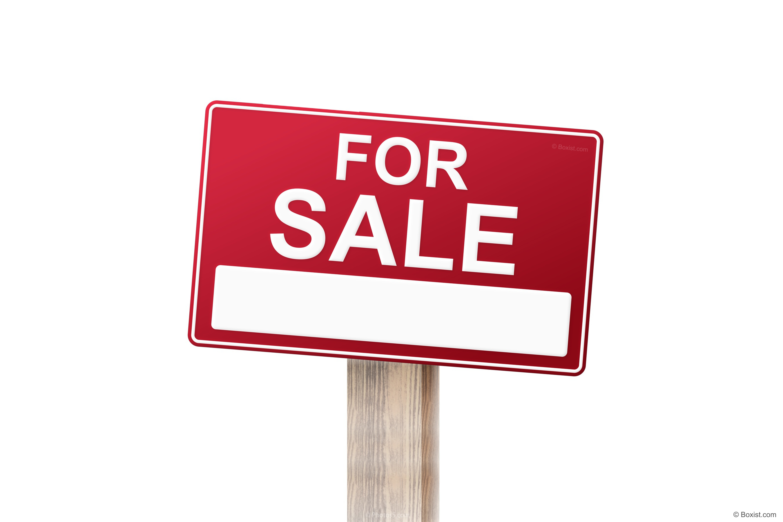House or Home For Sale Wooden Empty Sign with American Flag