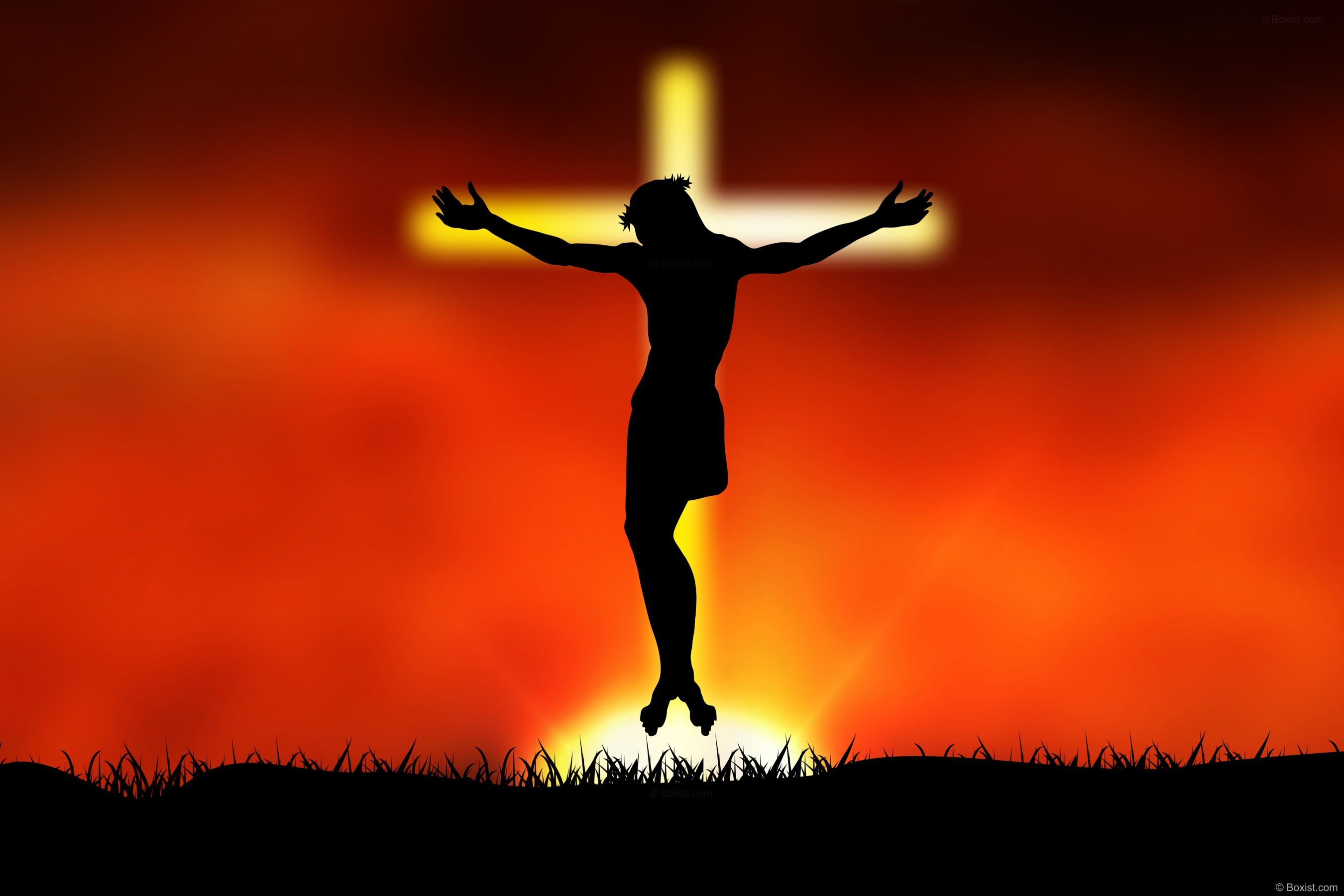 Jesus Christ Hanged on Glowing Cross in the Sky